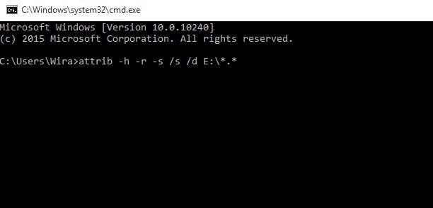 Menghapus virus shortcut dengan CMD