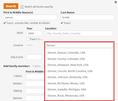 Ancestry.com place search showing misleading information