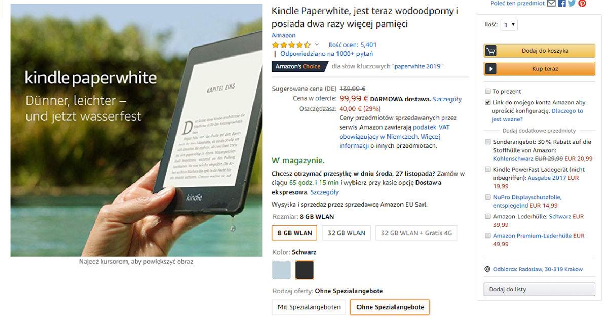 Kindle Paperwhite 4 przeceniony o 40 EUR w Amazon.de