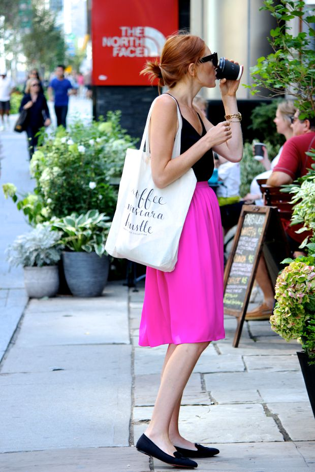 Pastels & Pastries- Summer City Street Style- Fuchsia Midi Skirt, running errands