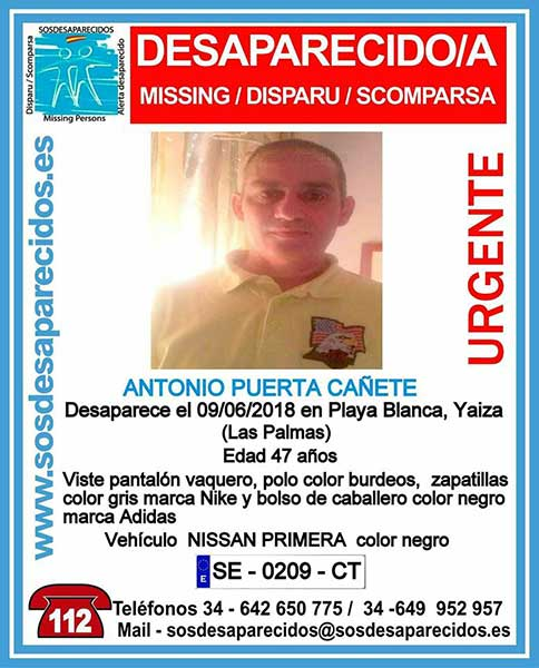Hombre desaparecido en  Yaiza, Lanzarote, Playa Blanca