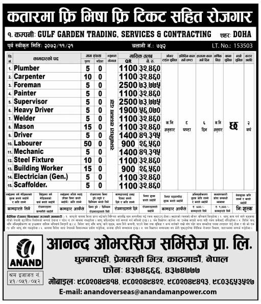 Free Visa Free Ticket Jobs in Qatar for Nepali, Salary Rs 73,775