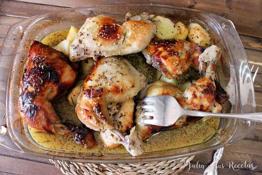 Pollo al horno con miel y mostaza antigua