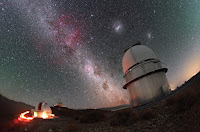 Milky Way Galaxy, Large Magellanic Cloud Galaxy and Small Magellanic Cloud Galaxy above La Silla Observatory in Chile