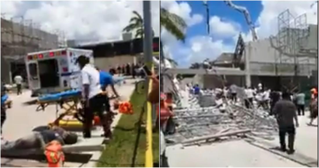 Video: Derrumbe en construcción de Quintana Roo deja al menos un muerto y varios heridos