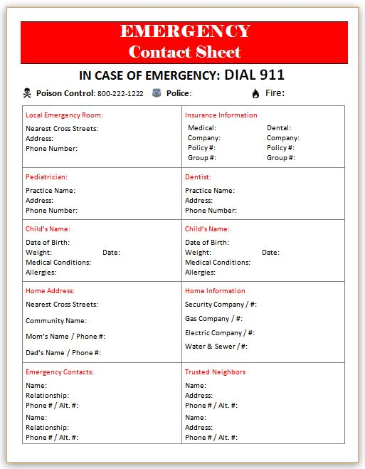 emergency contact sheet template - Josemulinohouse