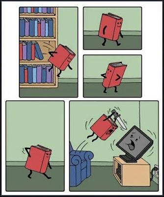 Viñeta de literatura vs televisión
