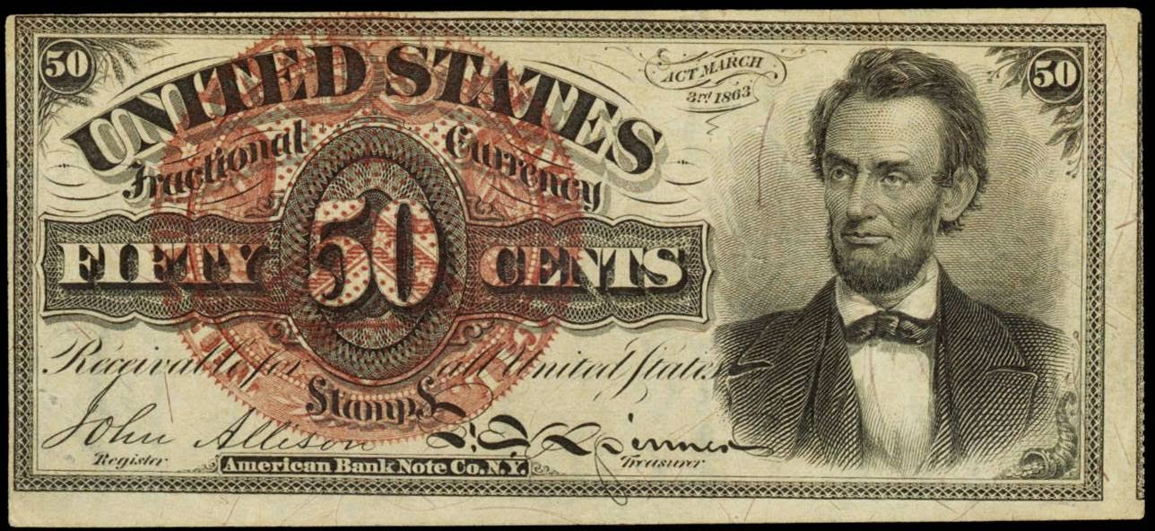 Fractional currency 50 Cents Lincoln note 1863 Fourth Issue