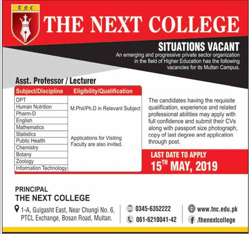 The Next College Multan looking for Staff
