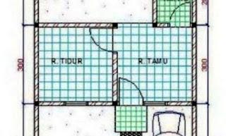 Denah Rumah Minimalis Tipe 21 1 kamar tidur