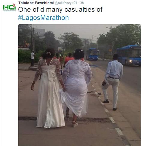 Lagos Marathon: Bride Made To Trek To Wedding Venue