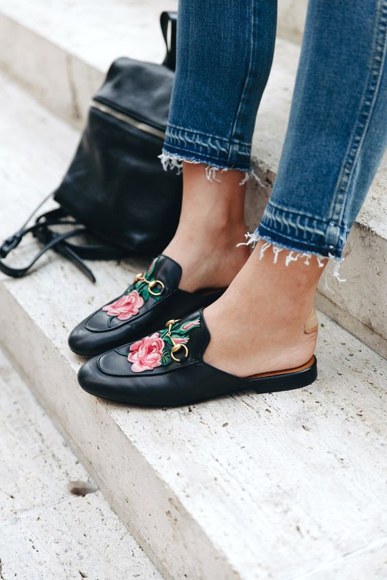 Floral embroidery mules, footwear, 2017 fashion trends