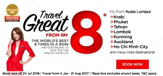 AirAsia Flight RM8 Fare Promotion