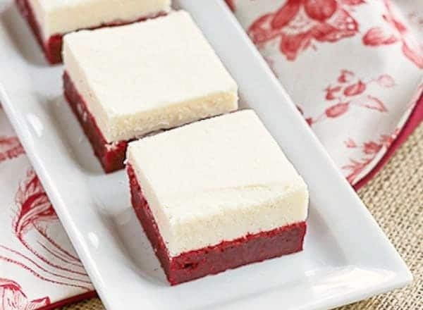 Red Velvet Brownies with White Chocolate Icing