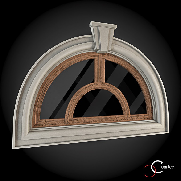 Ornameate Geamuri Rotunde Exterior, fatade case cu profile decorative polistiren, profile fatada,  Model Cod: WIN-076