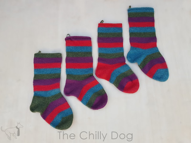 Free Easy Knitting Pattern: Striped, felted wool Christmas stockings