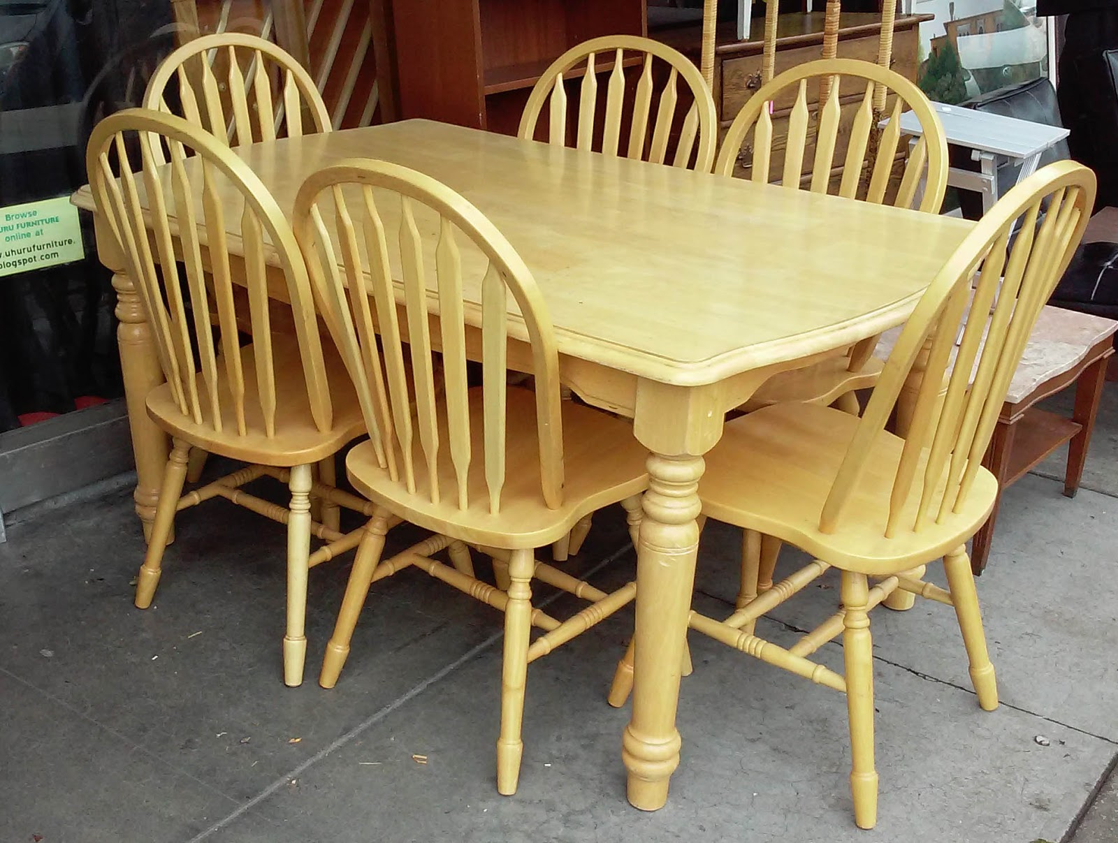 Uhuru Furniture Collectibles Sold Reduced Blond Butcher Block Table And 6 Chair Set 90