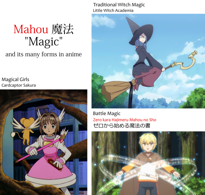 "mahou 魔法, ""magic,"" and examples of its many forms in anime. Such as traditional magic witches in Little Witch Academia. Magical Girls such as the one from Cardcaptor Sakura. And Battle Magic from Zero kara Hajimeru Mahou no Sho ゼロから始める魔法の書"