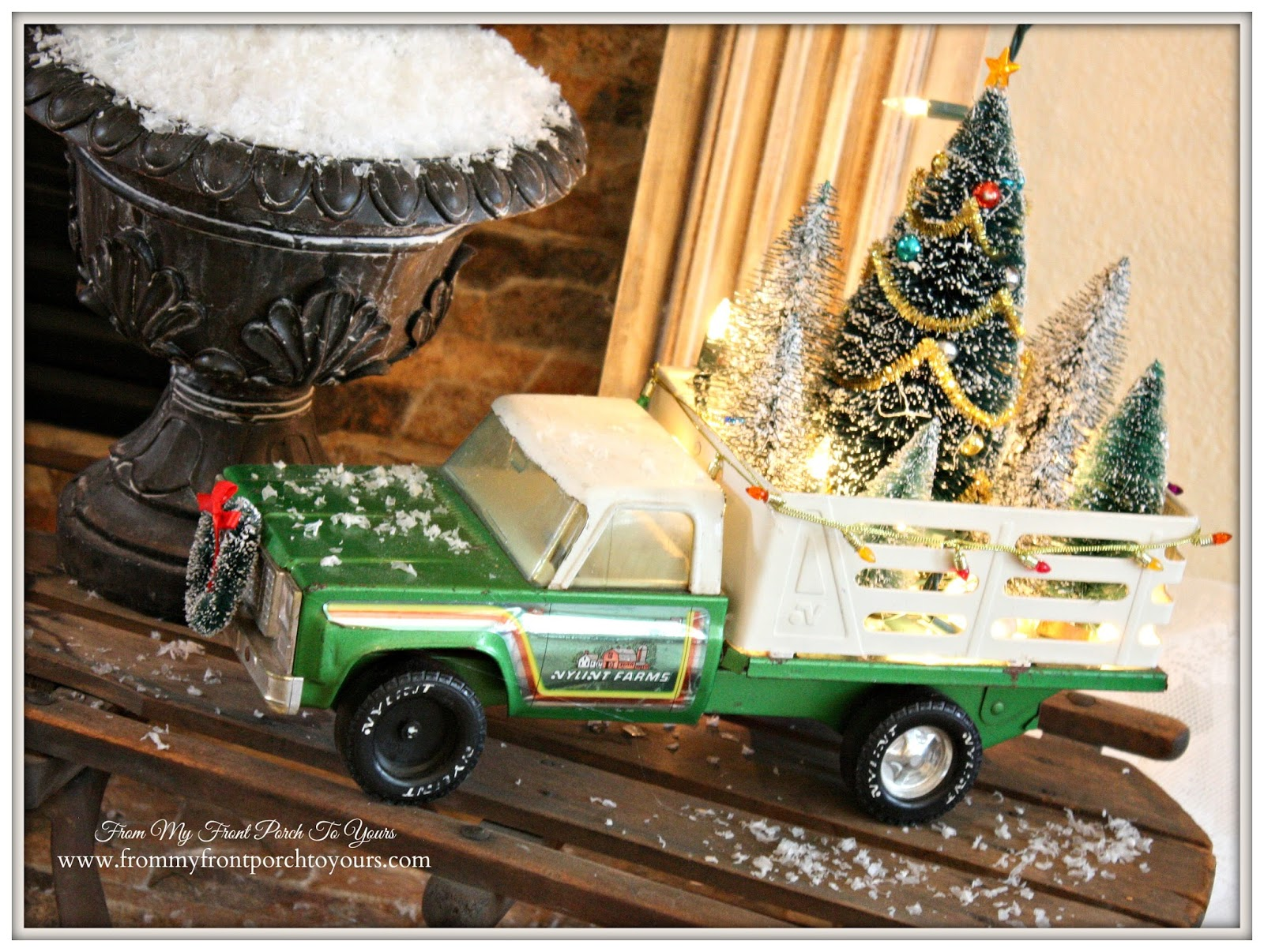 French Farmhouse Vintage Christmas Mantel- Vintage-Toy Truck-From My Front Porch To Yours