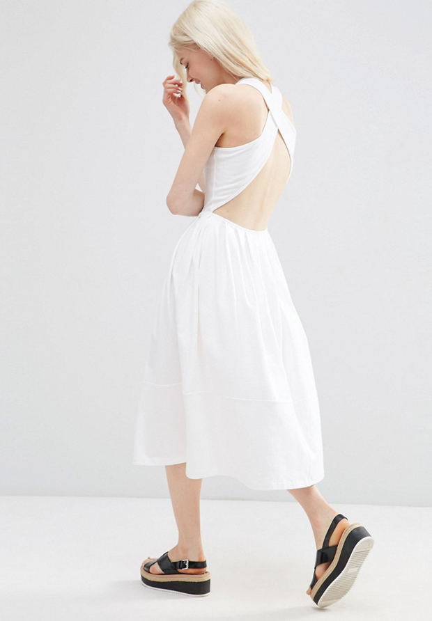Vestido blanco de asos con espalda descubierta