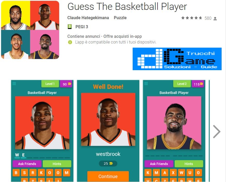 Soluzioni Guess The Basketball Player | Screenshot Livelli con Risposte