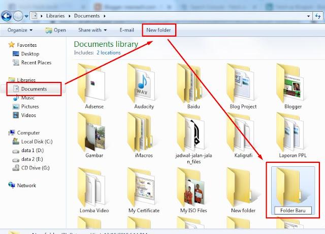 Gambar langkah membuat folder baru