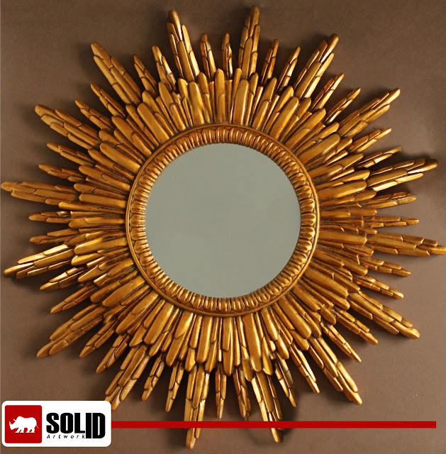 antique brass sun mirror