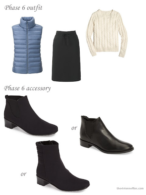 Adding short black boots to a capsule wardrobe