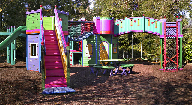 Outdoor Play Structures Have Elements Such As Slides Swings And Climbing Walls That Encourage Children To Be More Active They Often Bridges