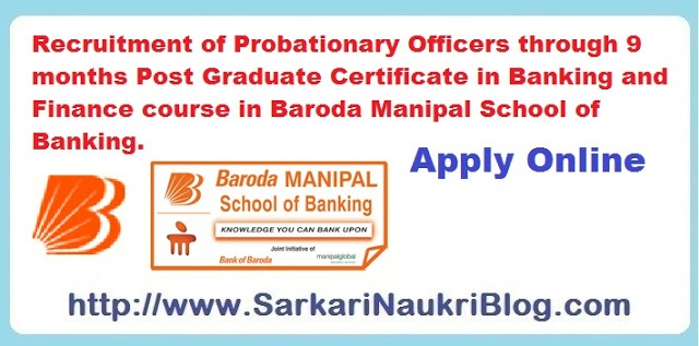 Bank of Baroda Probationary Officer Recruitment by Manipal  PG Diploma