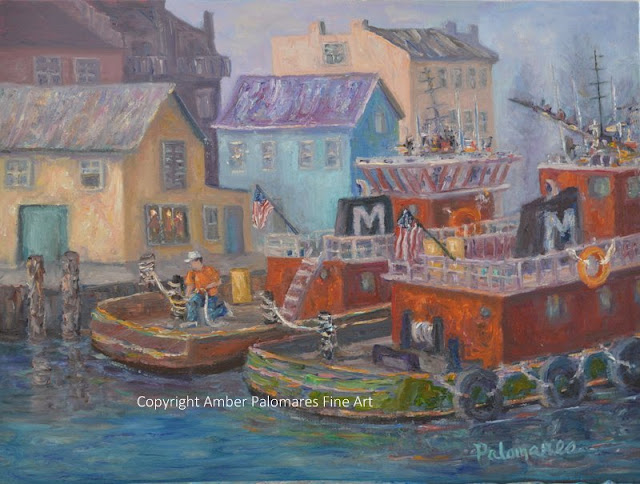 Tug Boat Painting by the Docks