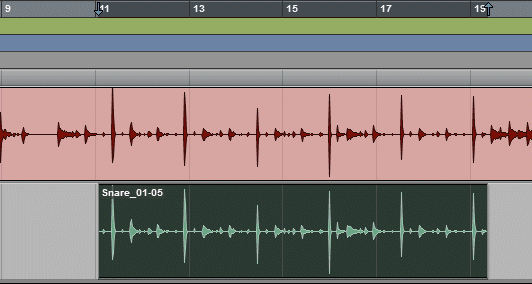 A Selection Pasted into the Pro Tools Timeline