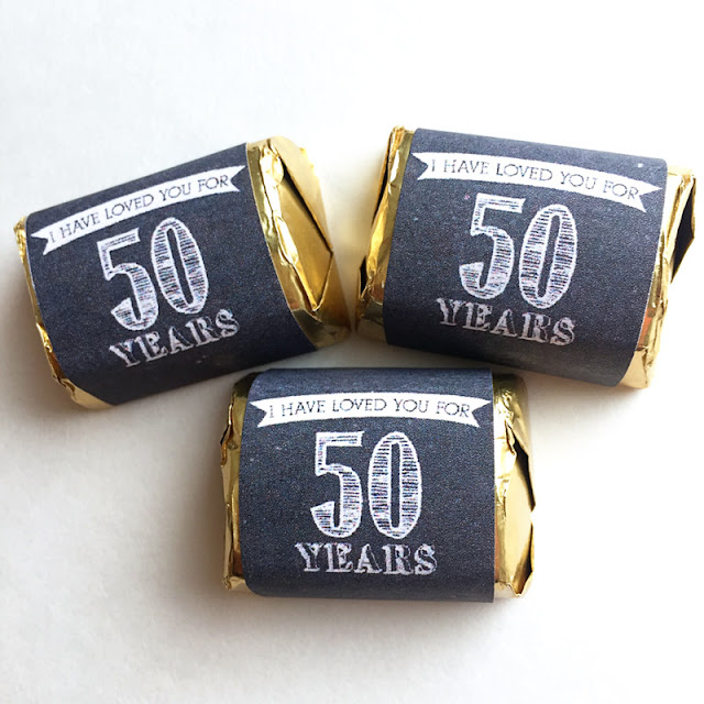 50th Anniversary Nugget Party Favor Candy Wrappers