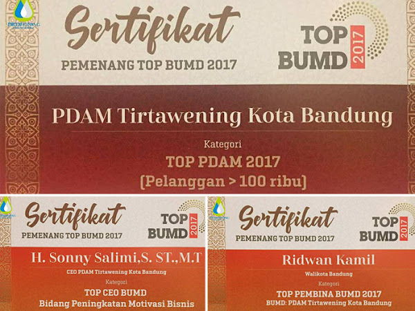 PDAM Tirtawening raih 3 penghargaan TOP BUMD 2017
