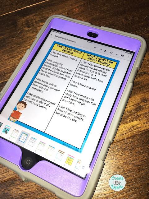 digital reading graphic organiziers
