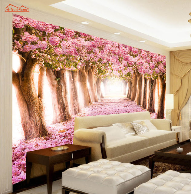 Wall Mural Ideas for Living Room Pink Trees Flowers
