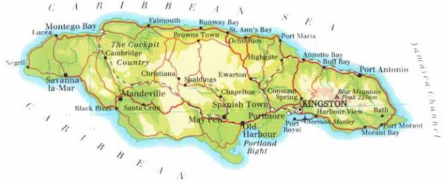 Carte de la Jamaique avec toutes ses villes