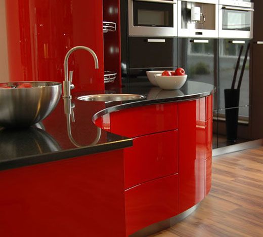 Cabinets for Kitchen: Red Kitchen Cabinets Design - Black And Red Kitchen