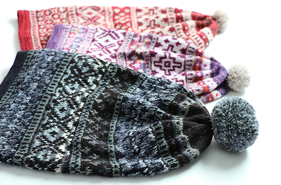 Scandinavian Hat pattern knit in three colorways.