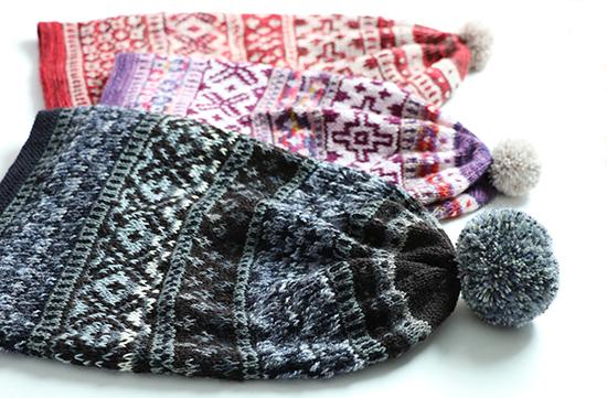 Scandinavian Hat pattern knit in three colorways.
