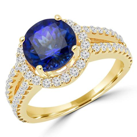 Majesty Diamonds Tanzanite and diamond halo cocktail ring
