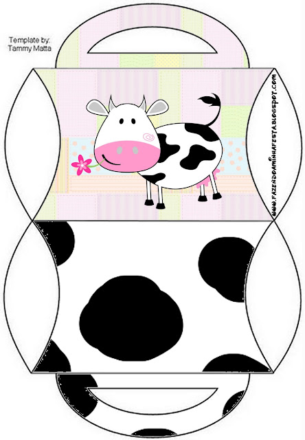 Cow and Patchwork Free Printable Pillow Box,
