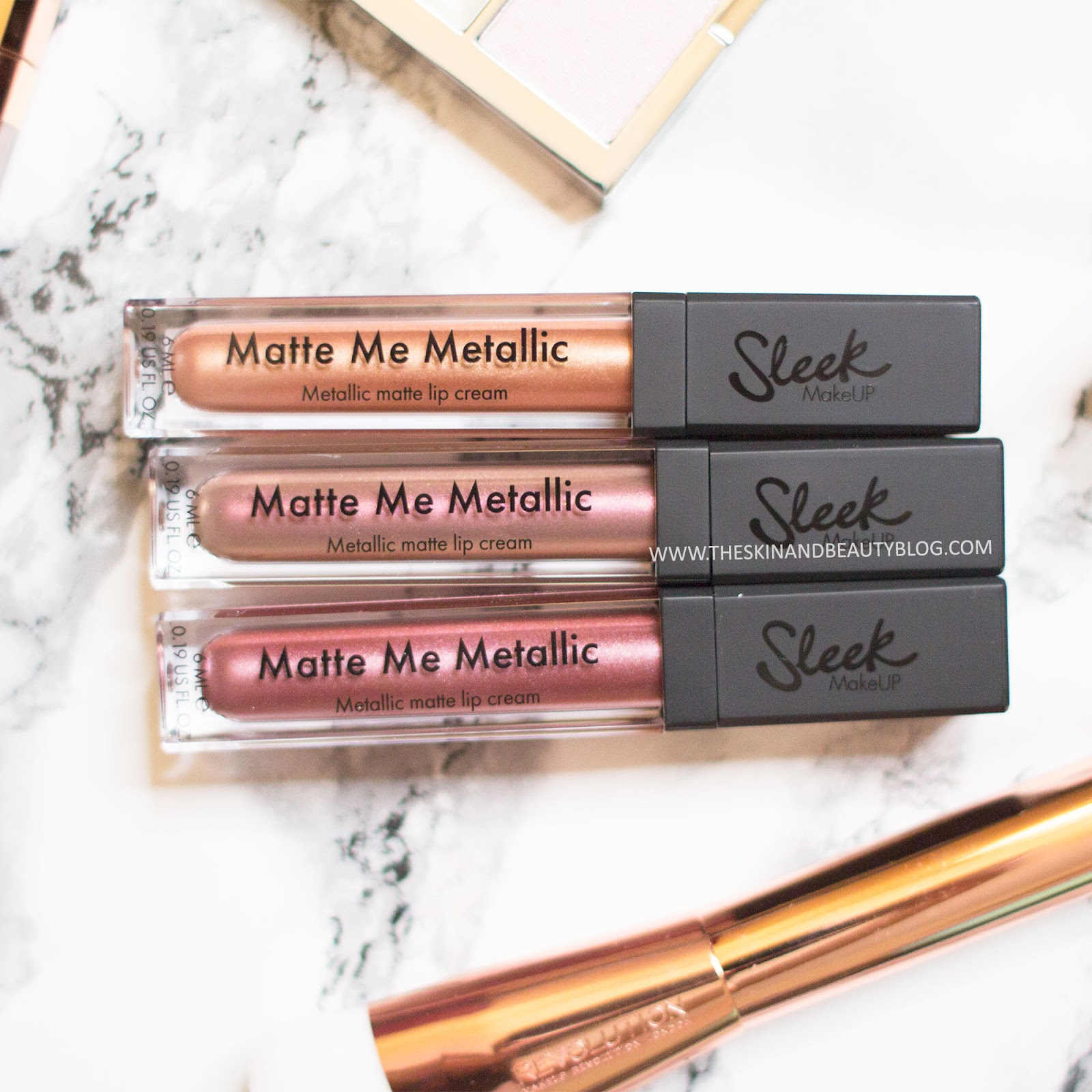 Sleek Makeup Matte Me Metallic Lip Creams Roman Copper, Volcanic, Rusted Rose Review Swatches