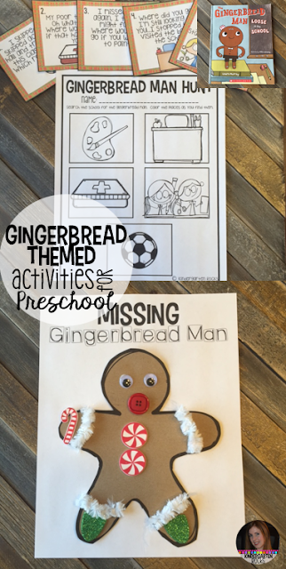 Gingerbread Man Activities, Centers and Crafts.  The boys and girls will learn important math, literacy and book comprehension concepts, strategies and skills through book centered lessons and activities.  Check out our blog post for more ideas and freebies!