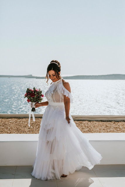 lighthouse photography paros island elopement wedding bridal gown decor makeup