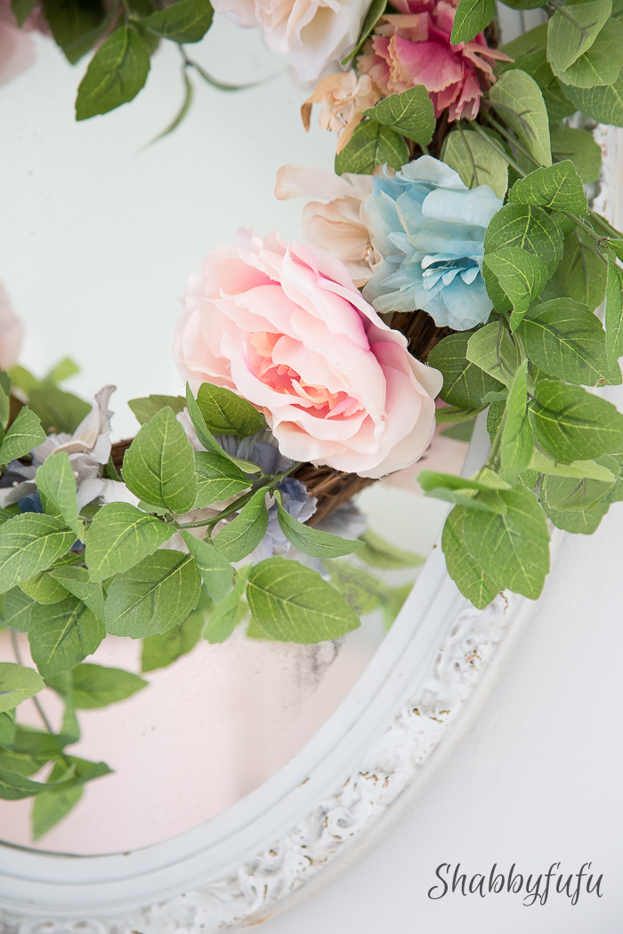 vintage silk flowers on a wreath
