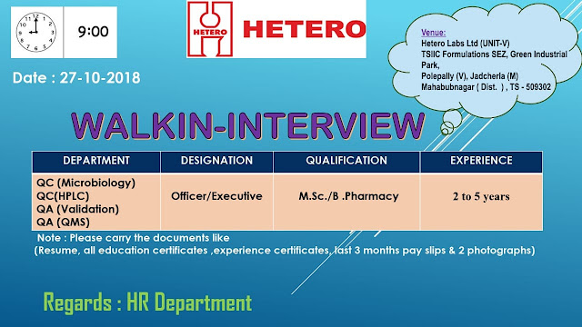 HETERO LABS LTD Walk In Interview For Quality Control, Quality Assurance at 27 October