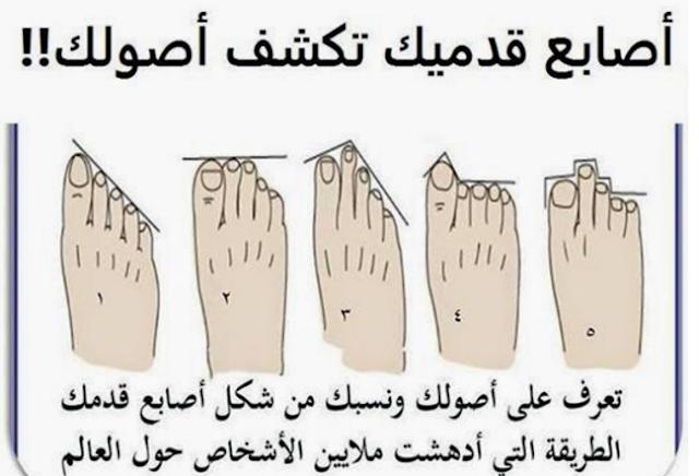 هل تريد أن تعرف أصلك ونسبك من شكل أصابع قدمك؟