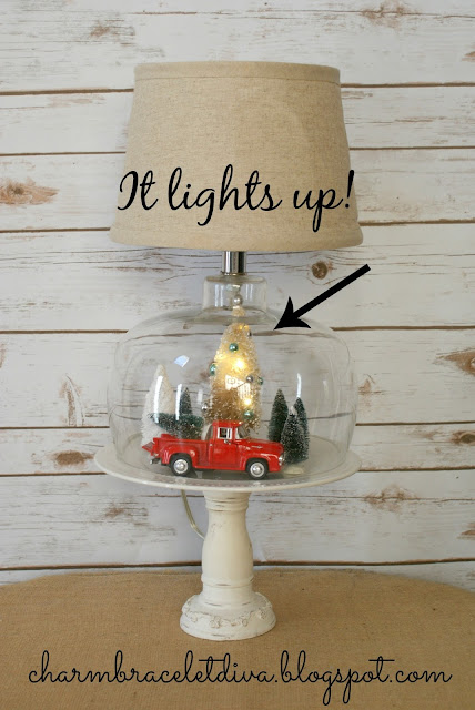 Thrifted Christmas cloche lamp decor