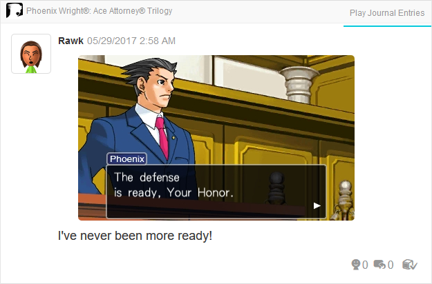 defense ready Phoenix Wright Ace Attorney Trilogy 3DS Miiverse Capcom Nintendo